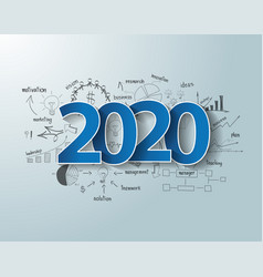 Blue tags label 2020 text design on creative vector
