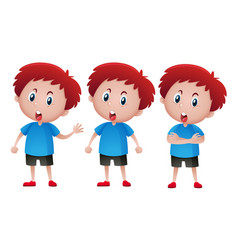 boy with red hair in three actions vector image