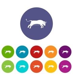 Bull set icons vector