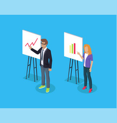 Businessman and lady on abstract presentation vector