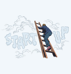 Businessman climbs up stairs ladder startup stock vector