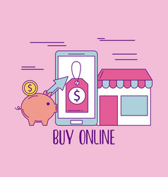 buy online mobile phone store market money safety vector image
