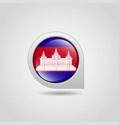 Cambodia flag map pointer design vector