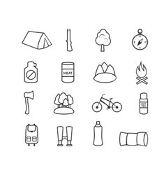 Camping equipment icons vector image