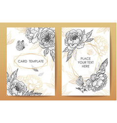 card templates with peony flowers and butterflies vector image