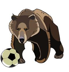 cartoon brown bear with soccer ball vector image
