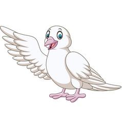 Cartoon cute dove presenting vector