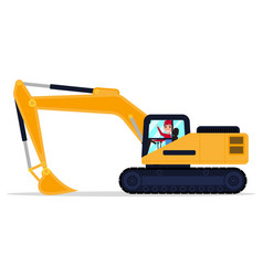 Cartoon male driver on an machine excavator vector