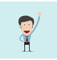 cartoon raise his hand vector image