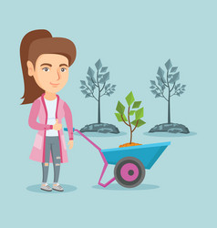 Caucasian woman pushing wheelbarrow with plant vector