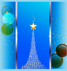 Christmas festive blue background with tree and vector