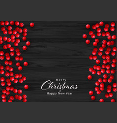 christmas red holly berry on black wooden vector image