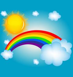 Cloud sun rainbow background vector
