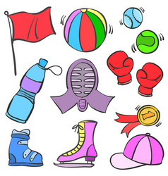 Collection stock of sport equipment theme doodles vector