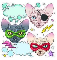 comic style colorful icons set cats the cat is vector image