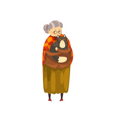 cute granny holding her black cat on her hands vector image