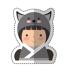 Cute japanese doll with a disguise of a mouse vector