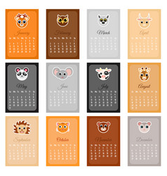 Cute monthly calendar 2020 with animals vector