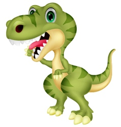 Cute tyrannosaurus cartoon waving hand vector image