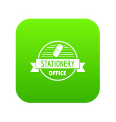 eraser icon green vector image