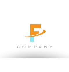 f orange blue logo icon alphabet design vector image
