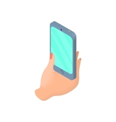 Female hand holding cell phone icon cartoon style vector