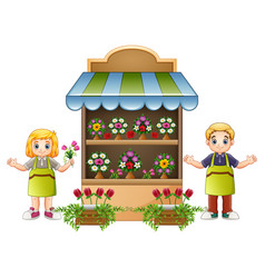 Florist girl and boy in flower shop vector
