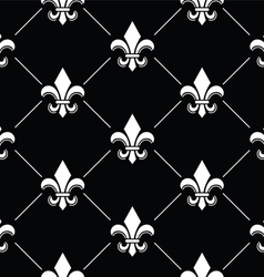 French Damask background - Fleur de lis black vector image
