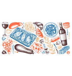 French food and drinks sketches collection in vector