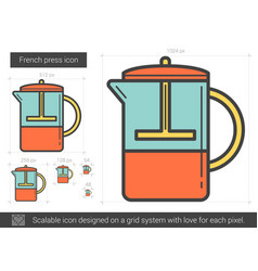 french press line icon vector image