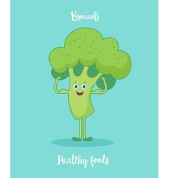 Funny broccoli with biceps vector