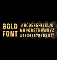Gold font numbers and letters alphabet typography vector