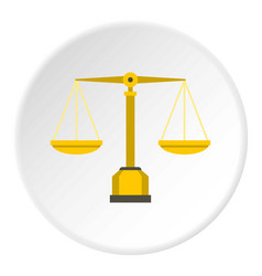 gold scales of justice icon circle vector image
