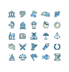 greece color thin line icon set vector image