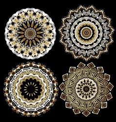 greek ornamental round mandala patterns set vector image