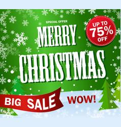green banner big sale text merry christmas vector image