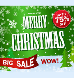 green banner big sale text merry cristmas and vector image