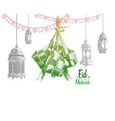 Green traditional indonesian food lantern vector