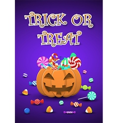 Halloween sweets and candies in pumpkin bucket vector