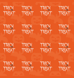 halloween tile pattern with trick or treat text vector image