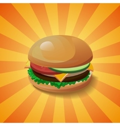 Hamburger with shadow vector