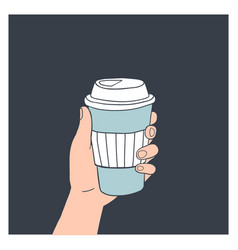hand holding reusable coffee cup vector image