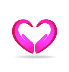 hands protection pink heart shape logo vector image