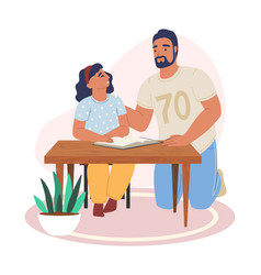 happy father and daughter reading book together vector image