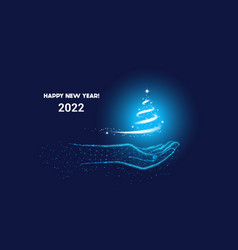 Happy new year 2022 blue christmas background vector