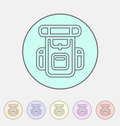 Hiking backpack trekking camping icon flat web vector