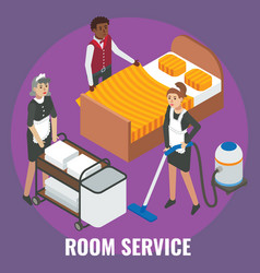 hotel staff maid cleaner characters making bed vector image