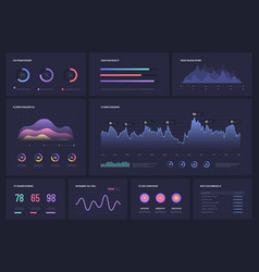 infographics on dark multipurpose economic charts vector image