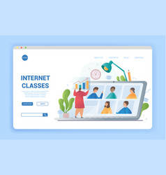 Internet classes e-learning or distance learning vector