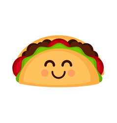 isolated happy taco emote vector image